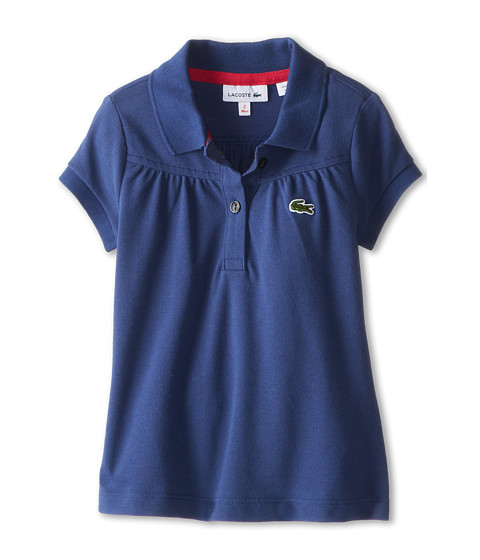 Lacoste Kids - S/S Classic Pique Polo (Toddler/Little Kids/Big Kids) (Odyssey Blue/Raspberry Sorbet) Girl