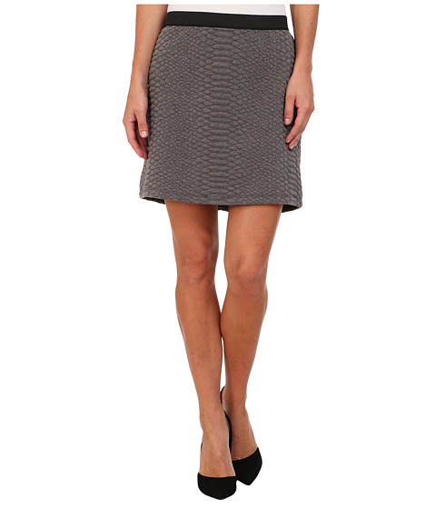 TWO by Vince Camuto - Croc Texture Quilted Mini Skirt (Smoke Heather) Women