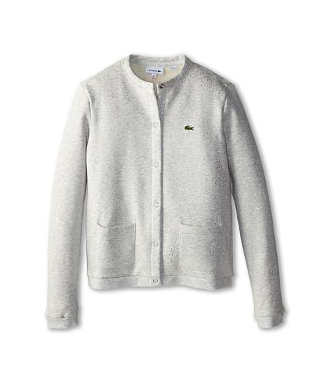 Lacoste Kids - All Over Glitter Button Fleece Sweatshirt (Toddler/Little Kid/Big Kid) (Fog Grey Chine/Metallic Grey) Girl