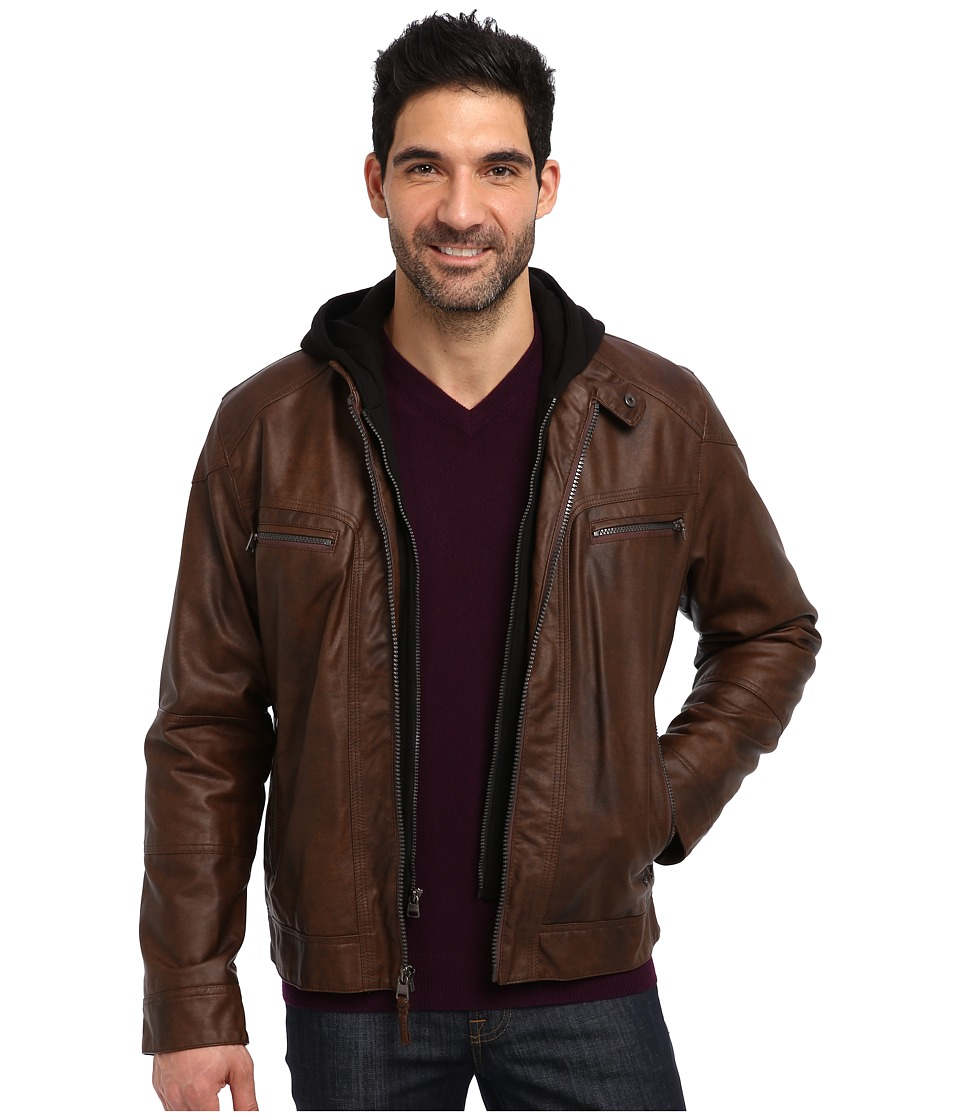 Calvin Klein - Faux Leather Bomber Jacket w/ Knit Hood CM499139 (Brown) Men's Coat