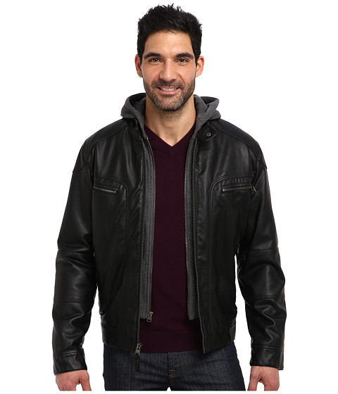 Calvin Klein - Faux Leather Bomber Jacket w/ Knit Hood CM499139 (Black) Men's Coat