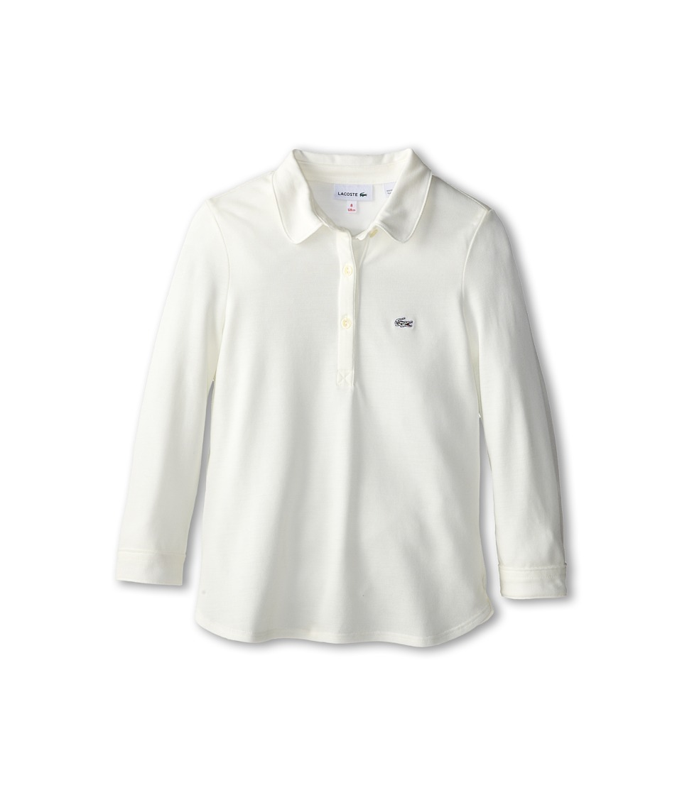 Lacoste Kids - L/S Soft Blend Pique Polo (Toddler/Little Kids/Big Kids) (Cake Flour White) Girl's Long Sleeve Pullover