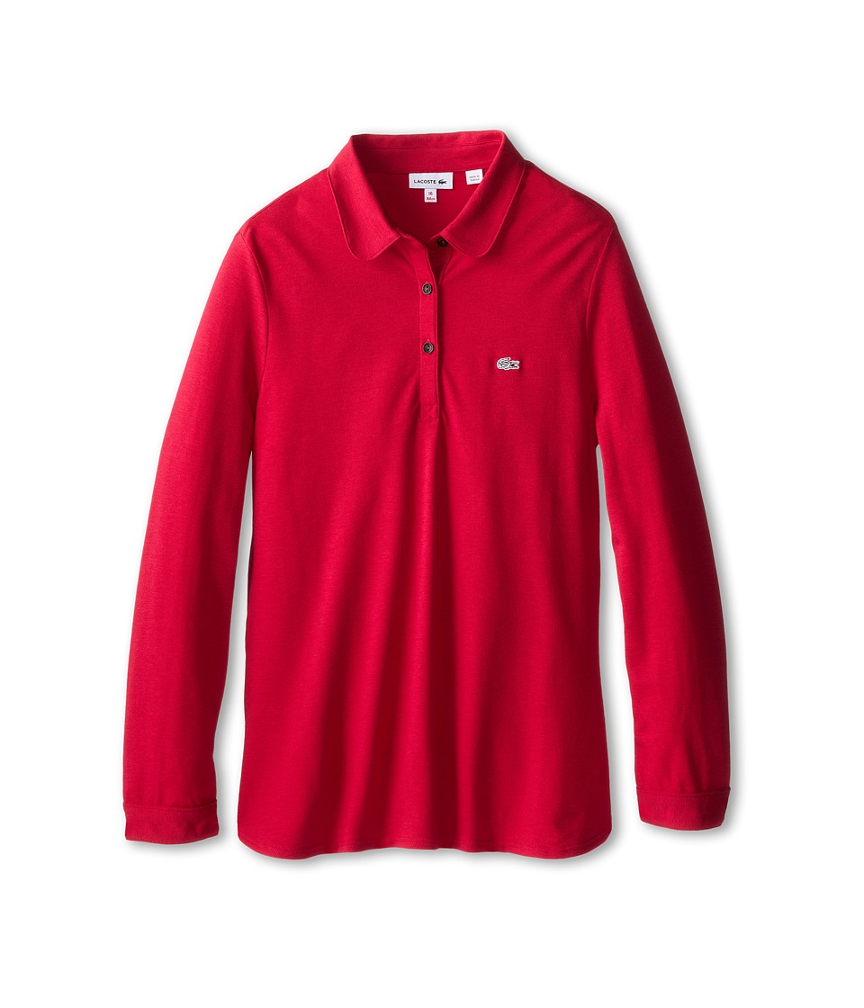 Lacoste Kids - L/S Soft Blend Pique Polo (Toddler/Little Kids/Big Kids) (Raspberry Sorbet) Girl's Long Sleeve Pullover