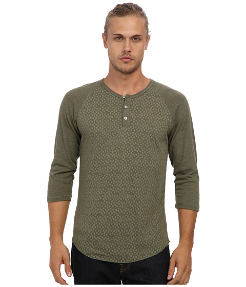 Alternative - Printed 3/4 Raglan Henley (Eco True Camo Green Hexagon Dot/Eco True Camo Green) Men's Long Sleeve Pullover