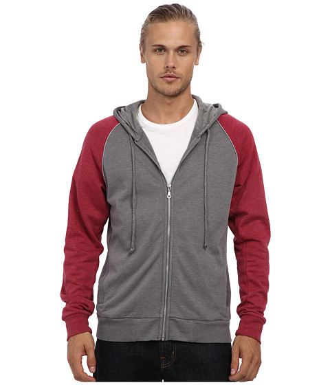 Alternative - Light French Terry Zip Hoodie (Nickel/Redwood/Shadow) Men's Sweatshirt