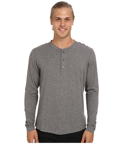 Alternative - Pima Henley L/S (Oxford Grey Heather) Men's Long Sleeve Pullover