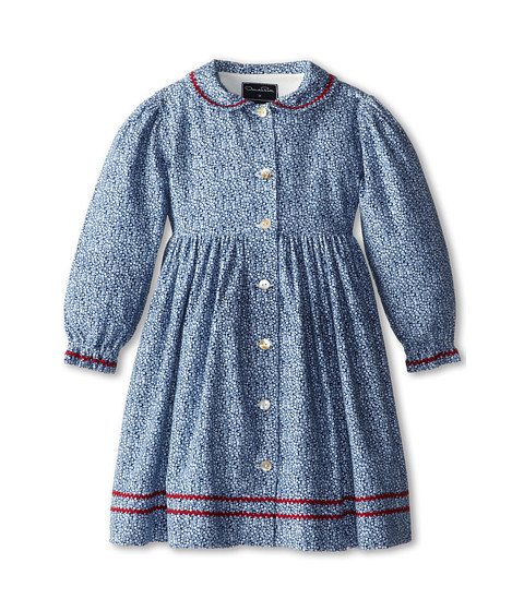 Oscar de la Renta Childrenswear - Small Floral Corduroy Button (Toddler/Little Kids/Big Kids) (Navy) Girl