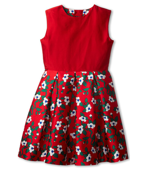 Oscar de la Renta Childrenswear - Taffeta Party Dress w/ Magnolia (Toddler/Little Kids/Big Kids) (Crimson) Girl