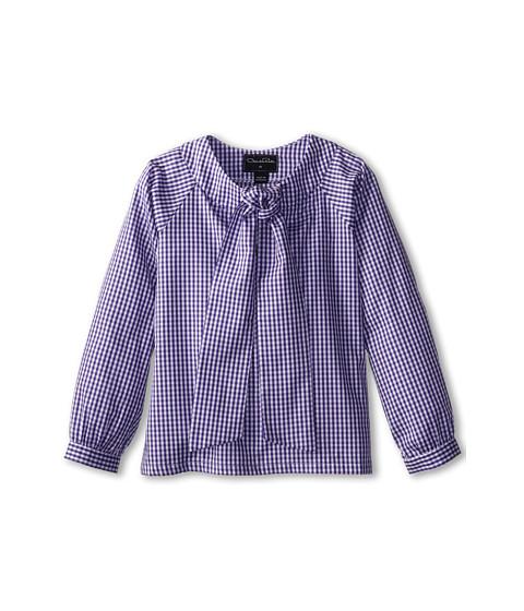 Oscar de la Renta Childrenswear - Check Cotton Bow Blouse (Toddler/Little Kids/Big Kids) (Violet) Girl