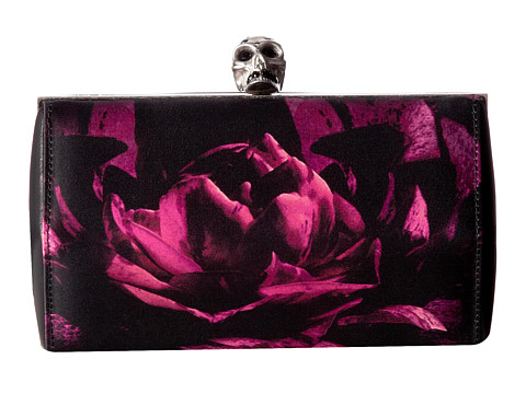 Alexander McQueen - Faceted Clutch w/ Chain (Black Purple/Black/Black) Clutch Handbags