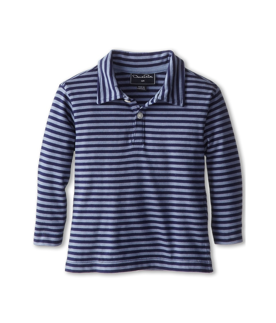 Oscar de la Renta Childrenswear - Stripe Cotton L/S Polo (Infant) (Navy/Clay) Boy's Long Sleeve Pullover