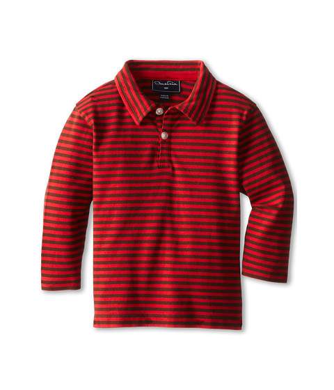 Oscar de la Renta Childrenswear - Stripe Cotton L/S Polo (Infant) (CP/Chocolate) Boy's Long Sleeve Pullover