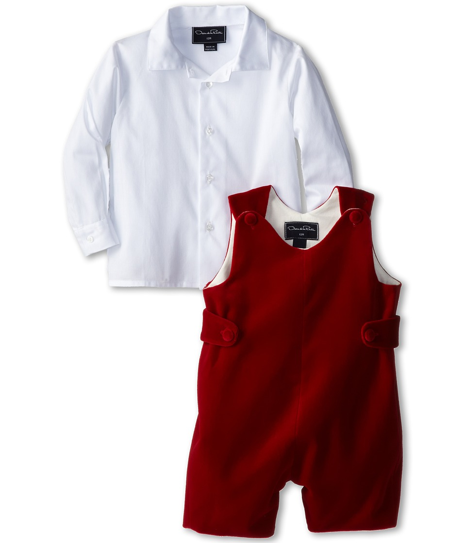 Oscar de la Renta Childrenswear - Velvet Romper (Infant) (Crimson) Boy's Active Sets
