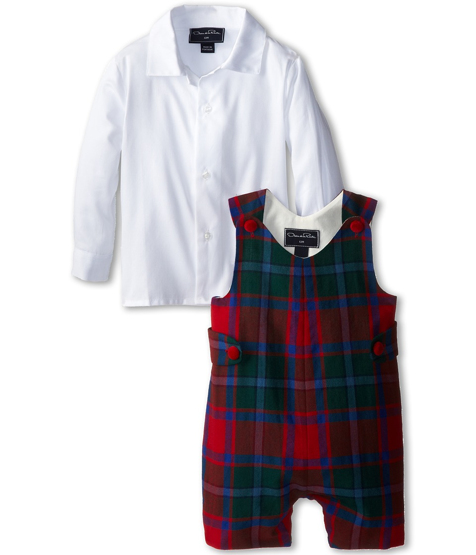 Oscar de la Renta Childrenswear - Plaid Wool Romper (Infant) (Crimson/Navy) Boy's Active Sets
