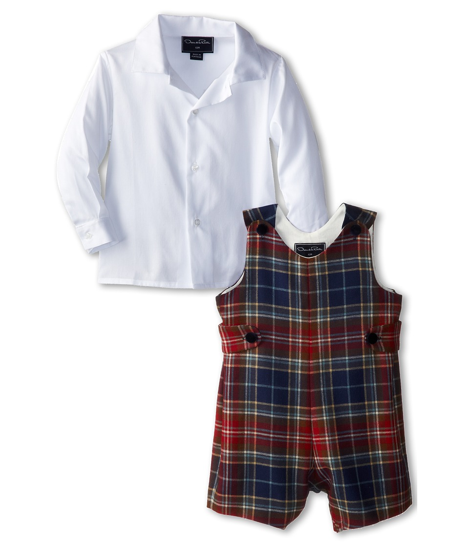 Oscar de la Renta Childrenswear - Plaid Wool Romper (Infant) (Chilipeppernavy) Boy's Active Sets