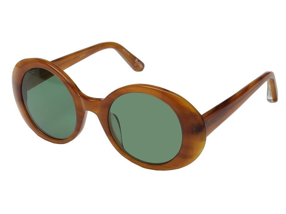 Elizabeth and James - Boylston (Shiny Caramel Smoke/Green Mono Polarized) Fashion Sunglasses