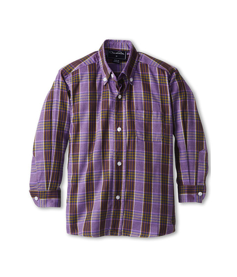 Oscar de la Renta Childrenswear - Plaid Cotton L/S Woven (Toddler/Little Kids/Big Kids) (Violet) Boy's Long Sleeve Button Up
