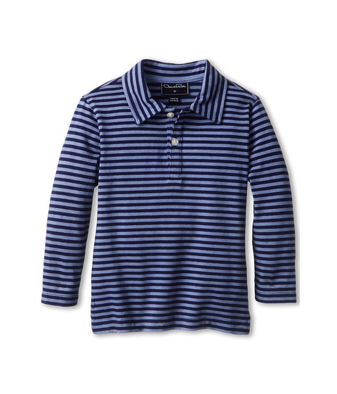 Oscar de la Renta Childrenswear - Stripe Cotton L/S Polo (Toddler/Little Kids/Big Kids) (Navy/Clay) Boy's Long Sleeve Pullover