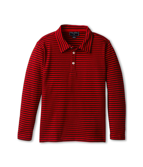Oscar de la Renta Childrenswear - Stripe Cotton L/S Polo (Toddler/Little Kids/Big Kids) (CP/Chocolate) Boy's Long Sleeve Pullover