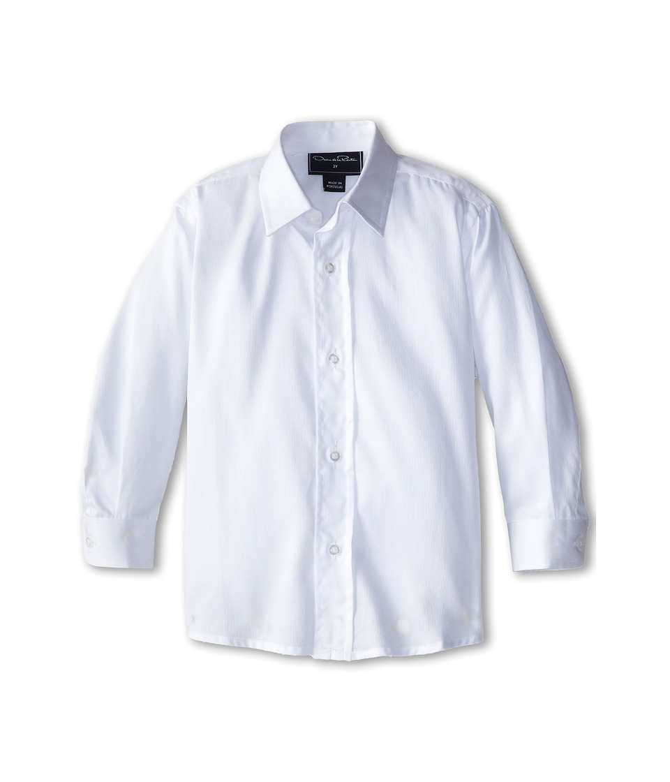 Oscar de la Renta Childrenswear - Pique L/S Dress Shirt (Toddler/Little Kids/Big Kids) (White) Boy's Long Sleeve Button Up