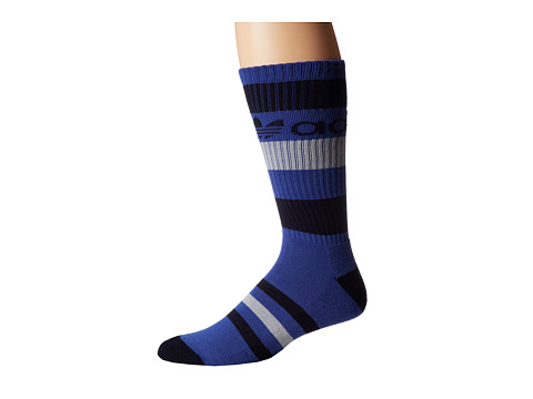 adidas - Original Trefoil Stripe Crew (Collegiate Royal/Collegiate Navy/Aluminum 2) Men's Crew Cut Socks Shoes