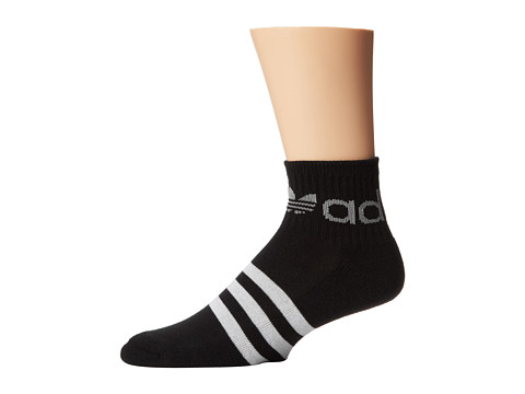 adidas - Original Trefoil Stripe Quarter (Black/White/Heather Mid Grey) Men's Quarter Length Socks Shoes