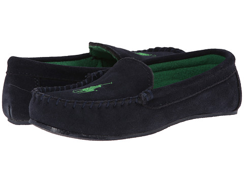 Polo Ralph Lauren Kids - Desmond Moc (Big Kid) (Navy Suede w/ Green Fleece Lining & Pony Player) Boys Shoes