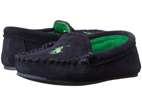 Polo Ralph Lauren Kids - Desmond Moc (Toddler) (Navy Suede w/ Green Fleece Lining & Pony Player) Boys Shoes