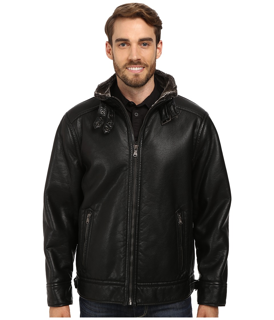 Calvin Klein - Pebble Faux-Leather Moto Jacket with Faux-Shearling (Black) Men's Coat