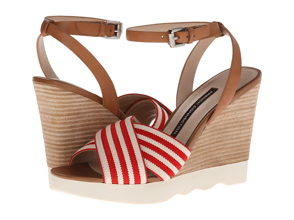 French Connection - Jane (Red/Natural/Tan) Women's Wedge Shoes