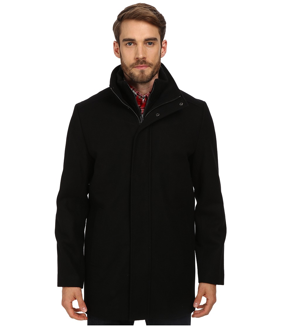 Calvin Klein - Wool Blend Bibbed Walking Coat CM485679 (Black) Men's Coat