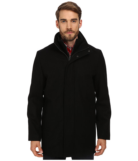 Calvin Klein - Wool Blend Bibbed Walking Coat CM485679 (Black) Men's Coat