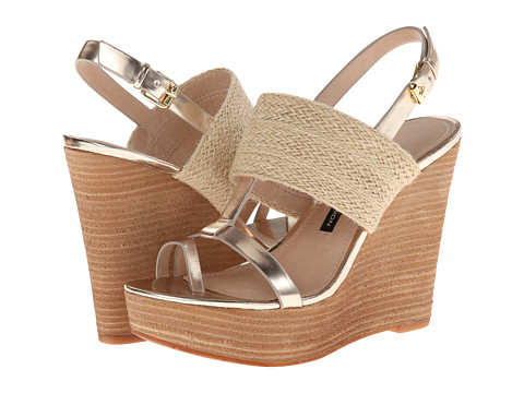 French Connection - Desiree (Gold/Natural) Women's Wedge Shoes