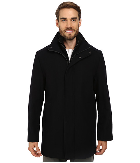 Calvin Klein - Wool Blend Bibbed Walking Coat CM473679 (Black Midnight) Men