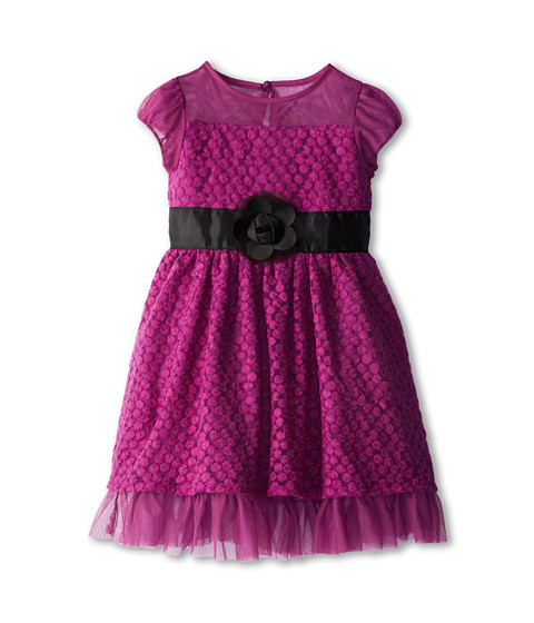 Us Angels - Puff Sleeve Daisy Lace Dress (Toddler/Little Kids) (Violet) Girl