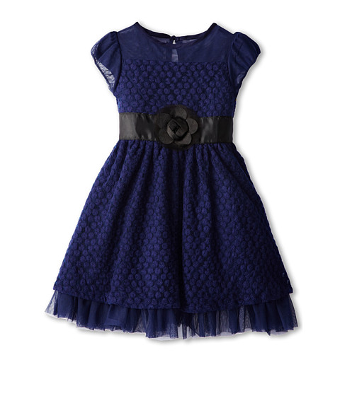 Us Angels - Puff Sleeve Daisy Lace Dress (Toddler/Little Kids) (Navy) Girl's Dress