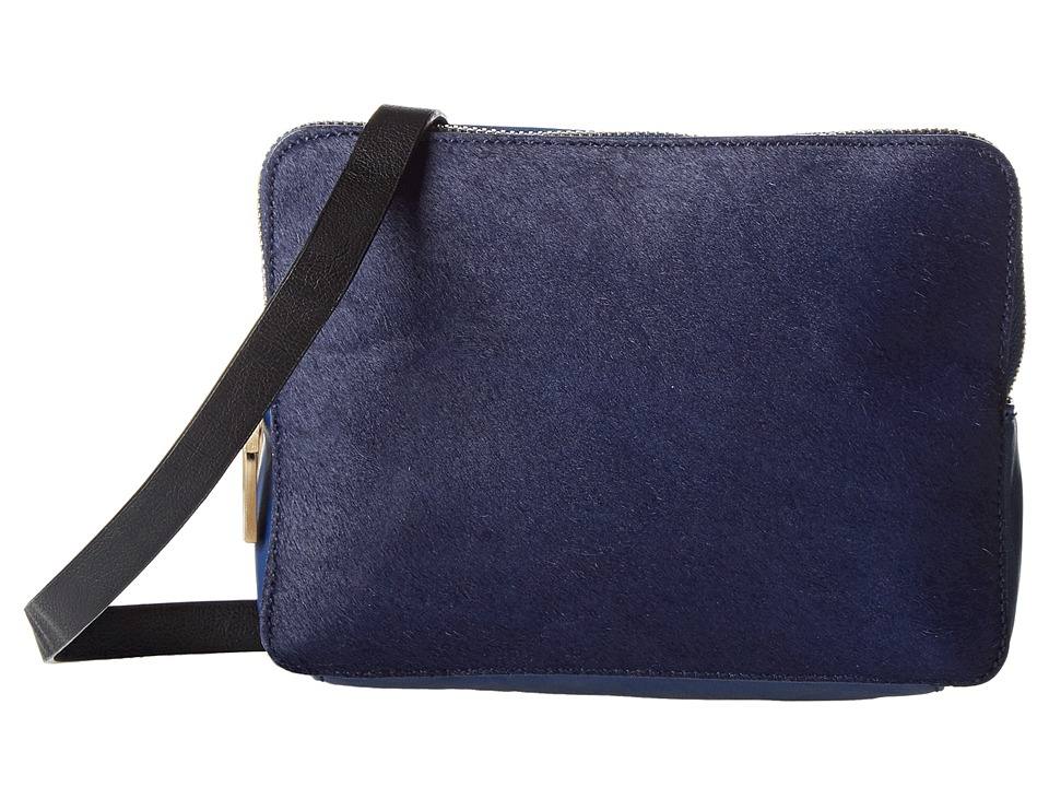French Connection - Cosmic Hair Triple Zip (Navy Hair) Cross Body Handbags