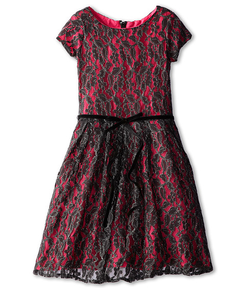 Us Angels - S/S Lace Tuck Waist Dress (Big Kids) (Black/Fuchsia) Girl's Dress