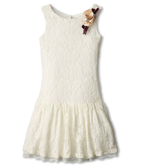 Us Angels - Fuzzy Lace Drop Waist Dress (Big Kids) (Ivory) Girl