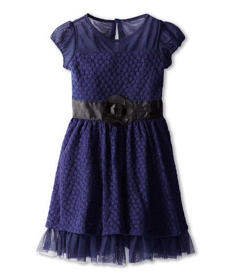 Us Angels - Puff Sleeve Daisy Lace Dress (Big Kids) (Navy) Girl