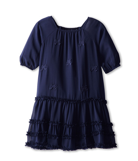 Us Angels - Chiffon Ruffle Dress (Big Kids) (Navy) Girl