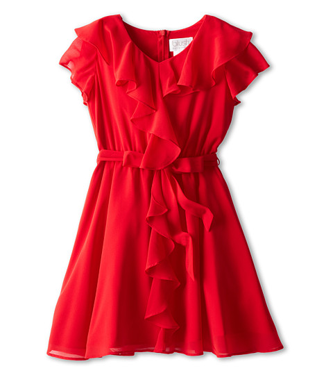 Us Angels - Ruffle Front w/ Full Skirt (Big Kids) (Red) Girl's Dress