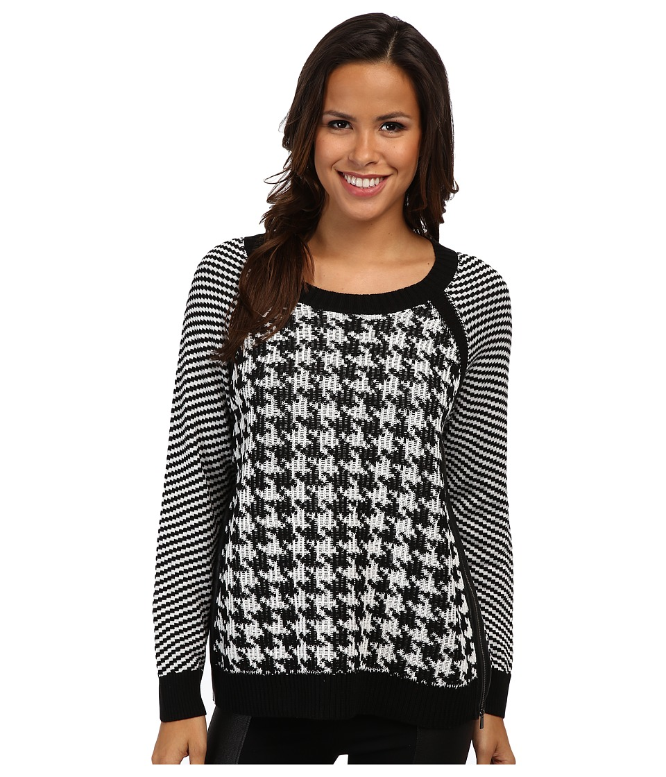 TWO by Vince Camuto - Jacquard Houndstooth Sweater (Rich Black) Women's Sweater