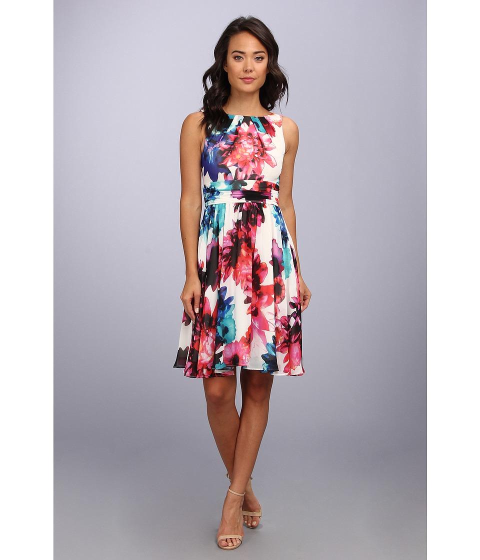 Eliza J Printed Chiffon Dress w/ Ruched Waist Womens Dress (Multi)
