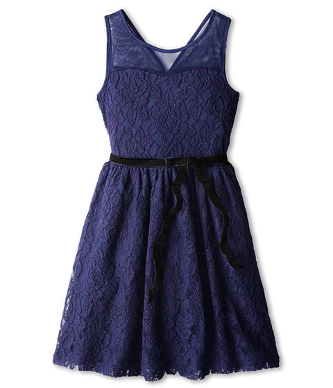 Us Angels - Illusion Tank Dress w/ Full Skirt (Big Kids) (Navy) Girl's Dress
