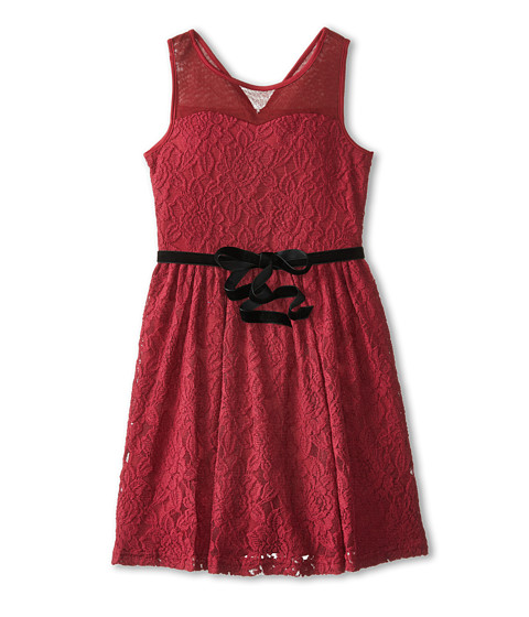 Us Angels - Illusion Tank Dress w/ Full Skirt (Big Kids) (Burgundy) Girl's Dress