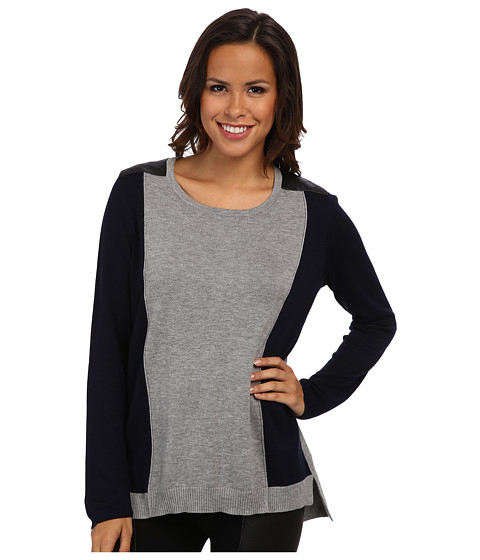 TWO by Vince Camuto - Colorblock Sweater w/ Quilted Pleather Shoulders (Navy Stone) Women