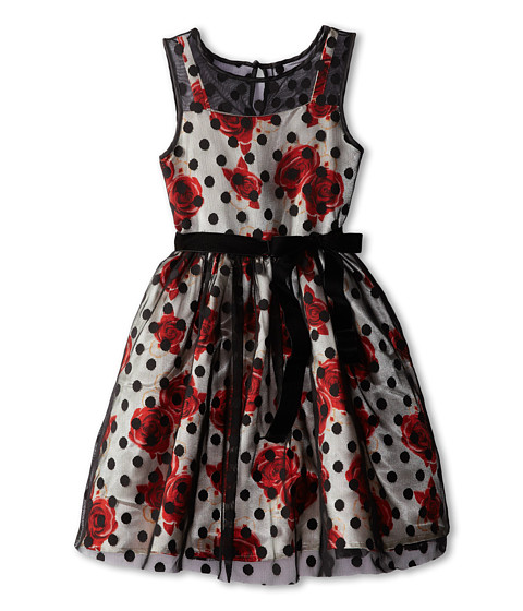 Us Angels - Illusion Tank Dress w/ Full Skirt (Big Kids) (Multi/Black) Girl's Dress