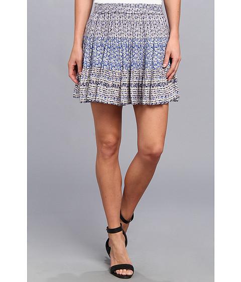 BCBGMAXAZRIA - Paula Printed A-Line Tiered Skirt (Cobalt Blue Combo) Women