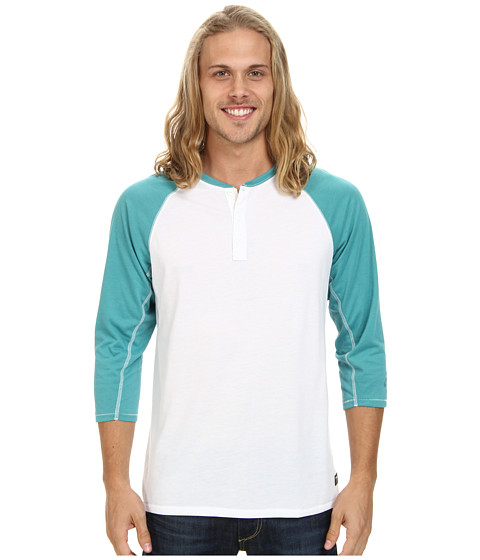 Nike SB - SB Dri-Fit 3/4-Sleeve Henley (White/Catalina) Men's Short Sleeve Pullover
